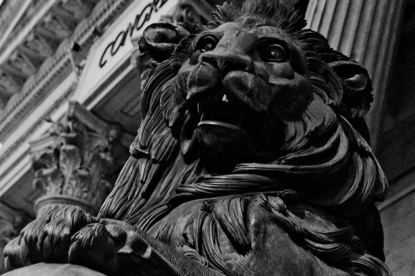 Lion in front of Spanish Congress of Deputies