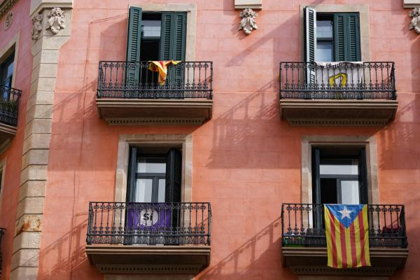 Balconies with flags